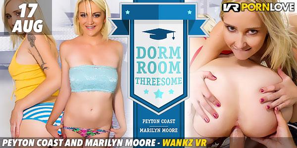 Peyton Coast and Marilyn Moore in Dorm Room Threesome